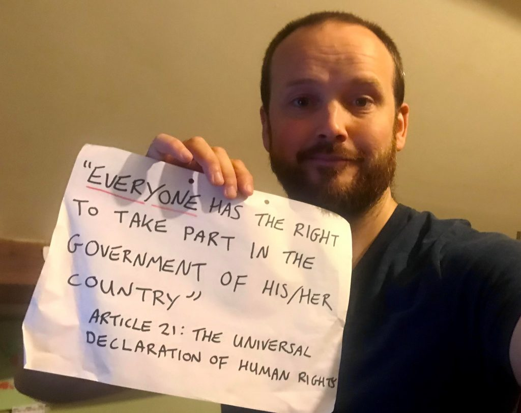 """Councillor Steve Hynd on Elections Bill - """"Everyone has the right to take part in the government of his/her country"""" Article 21: The Universal Declaration of Human Rights."""